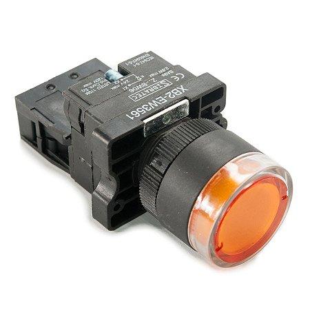 Botão Iluminado Plástico EW3561 Amarelo 24V 1NA Sibratec