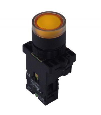 Botão Iluminado Plástico EW3561 Amarelo 220V 1NA