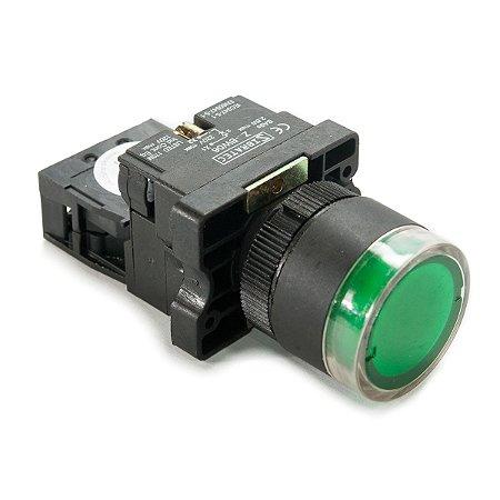 Botão Iluminado Plástico XB2-EW3361 Verde 220V 1NA Sibratec