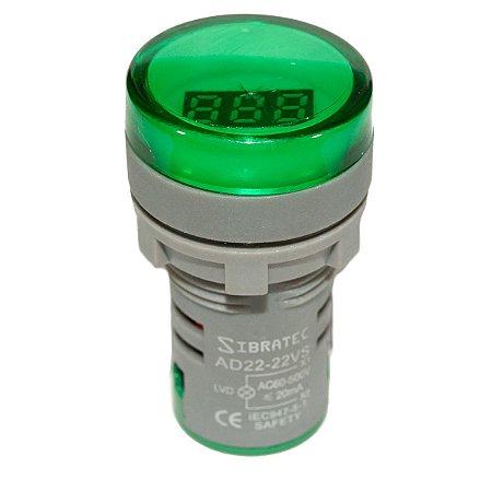 Voltimetro Verde Digital 22mm AD22-22VS-G Sibratec