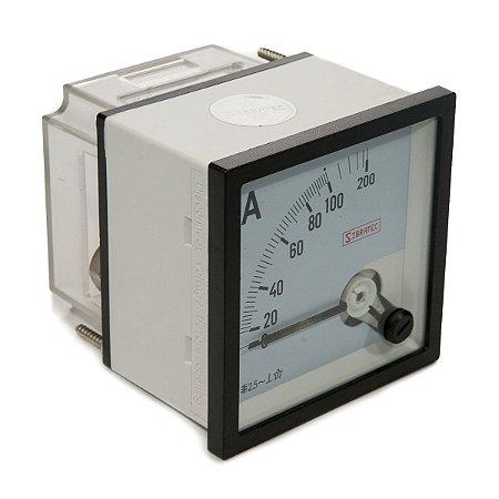 Amperimetro Analogico 72x72mm Medição Direta 100A