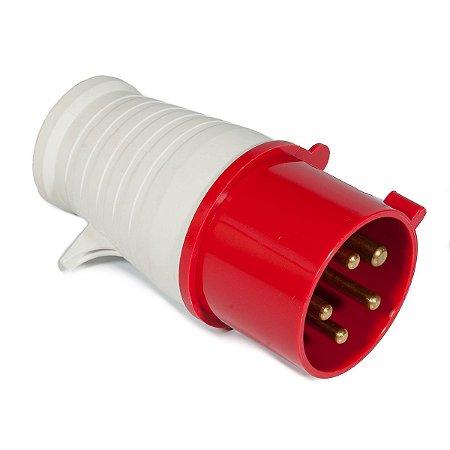 Tomada industrial macho 3P + T + N IP44 380VAC/32A 6H Vermelha