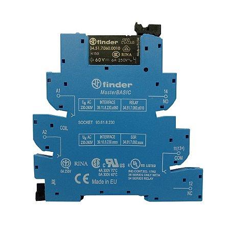 Rele Modular de Interface Finder 220-240V 1 Reversivel 6A