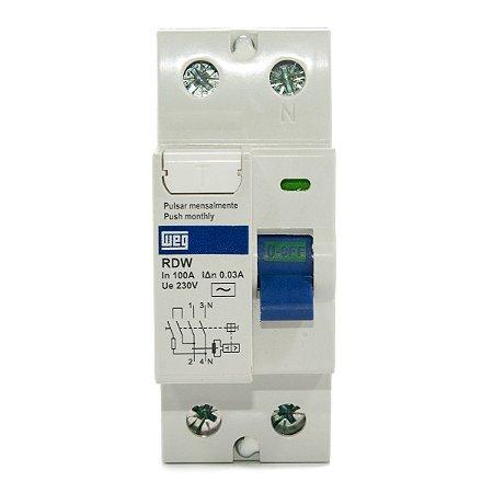 Interruptor Diferencial Residual DR 100A RDW30-100-2 Weg