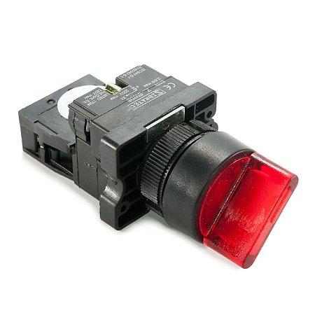 Chave Seletora Iluminada XB2-EK2461 220Vca 2 Posições Vermelho 1NF