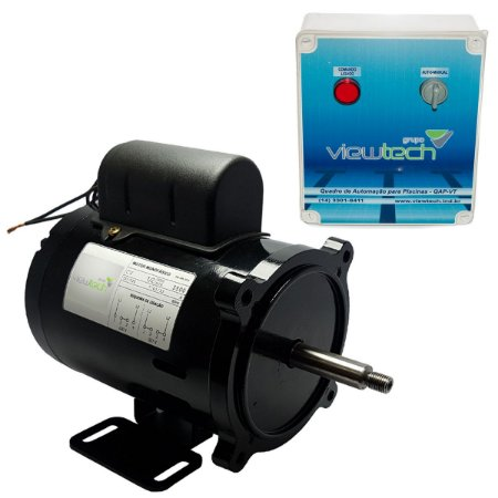 Motor Elétrico c/ Quadro Automação de Piscina 0,5cv ViewTech