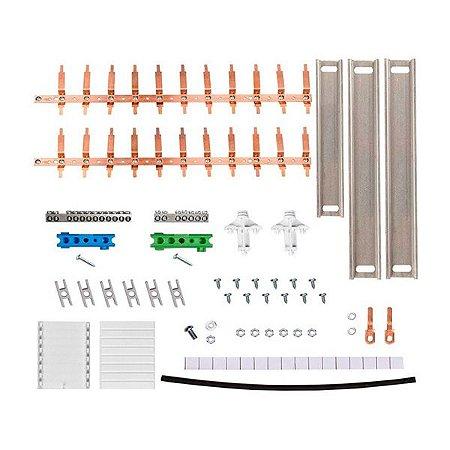 Kit para Quadros Dist Metal 100A Barramento Bif Vert 44 DIN