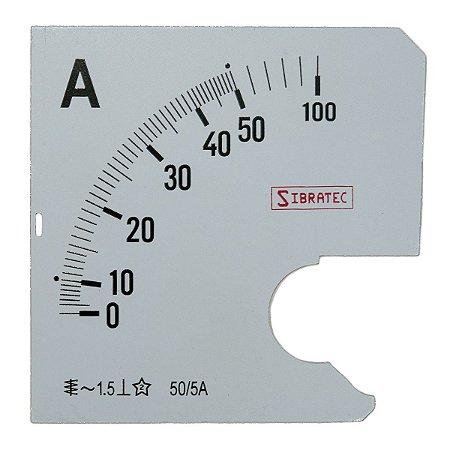Escala para Amperimetro 0-50A 96x96mm Sibratec