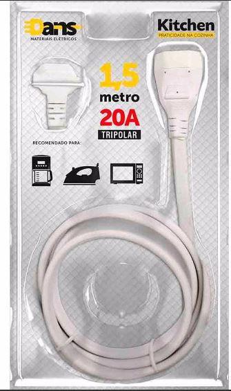 Extensão Elétrica Kitchen 20A 1,5m Branca Dans