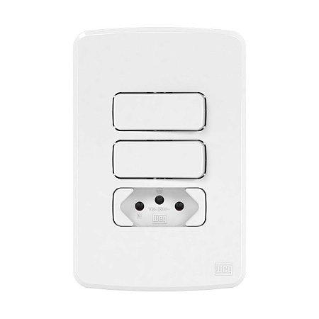 Placa 4x2 + Suporte + 1 Interruptor Simples + 1 Paralelo + 1 Tomada 10A Compose Weg