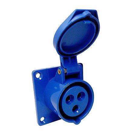 Tomada Industrial de Embutir 413 16A 6H 220V 2P+T Azul Sibratec