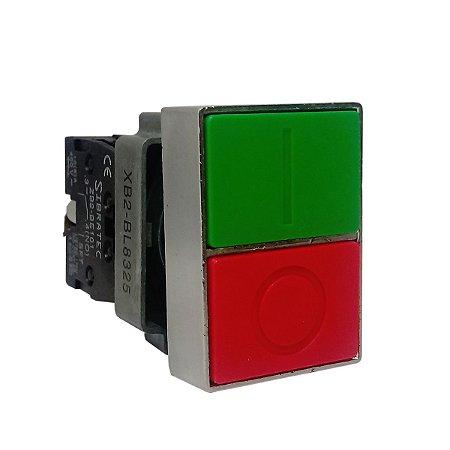 Botão Duplo Quadrado Metálico BL8325 1NA+1NF
