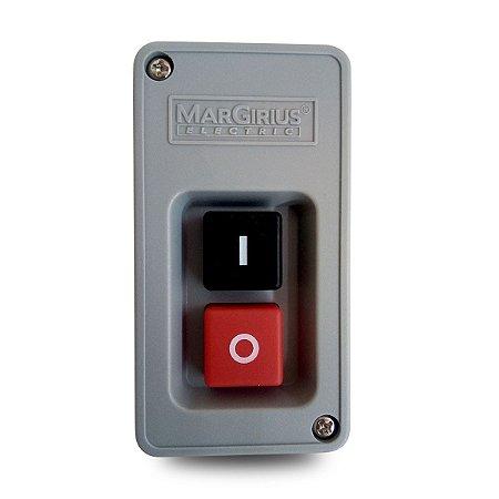 Interruptor de Tecla Bipolar Margirius Cs-102 30A Preto e Vermelho
