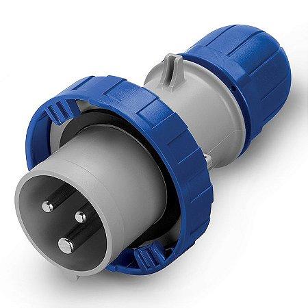 Plug Industrial Scame 2P+T 16A 220V 6h Azul com Prensa Cabo