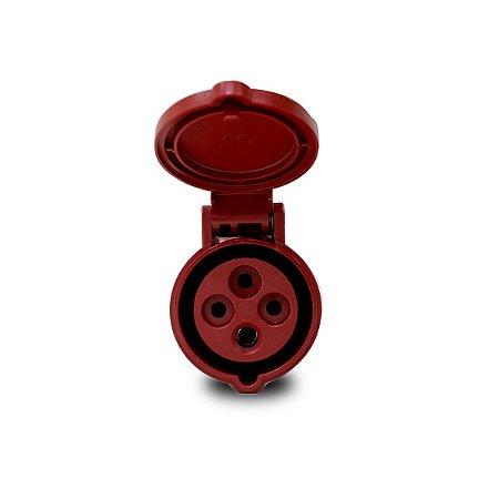 Tomada Industrial Pendente Scame 3P+T 16A 6h 380V Vermelha