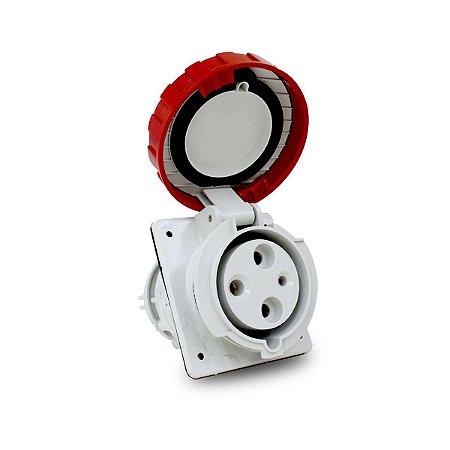 Tomada de Embutir Scame 2P+T 63A 380V 9h 84x106mm Vermelha