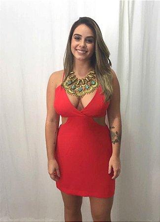 Vestido Decote Cintura- Vermelho