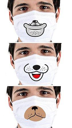 Máscara Dogs Cirúrgica Tripla Descartável - Elástico - C/20 - FunWork