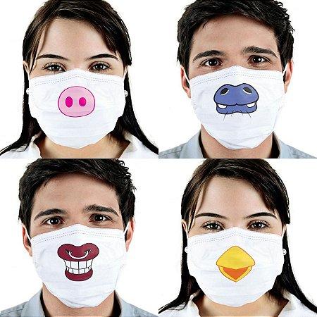 Máscara Variadas Bichos Cirúrgica Tripla Descartável - Elástico - C/20 - FunWork