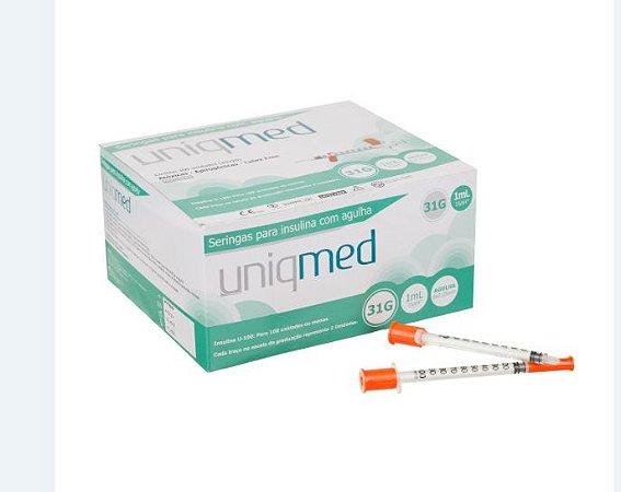 Seringa 1ML Insulina com Agulha 6x 0,25 MM - 100 UN -  Uniqmed