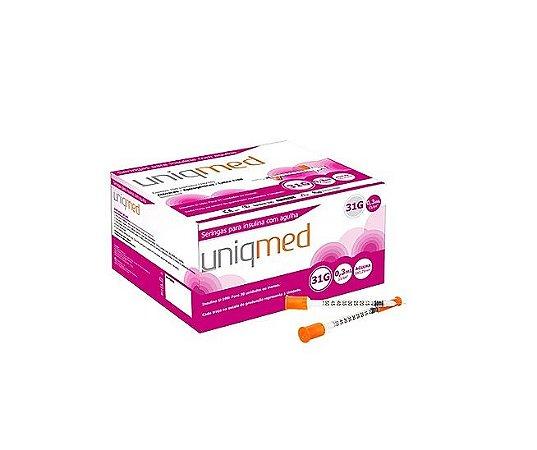 Seringa 0,3ML Insulina com Agulha 6x 0,25 MM - 100 UN -  Uniqmed