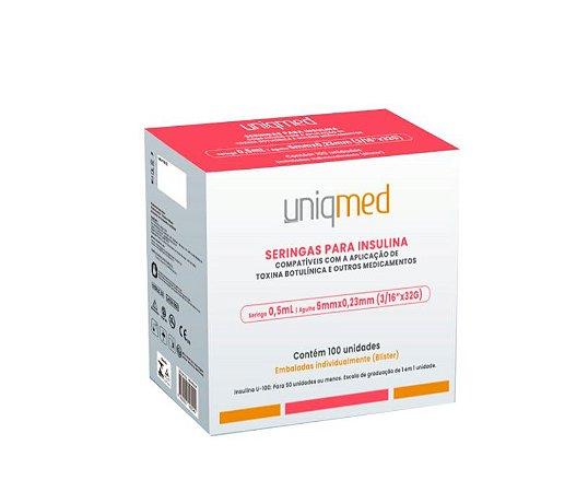 Seringa 0,5ML Insulina com Agulha 5x 0,23 MM - 100 UN -  Uniqmed