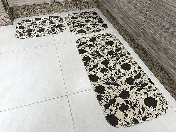 60820b77b Jogo de Tapete para Cozinha 3 peças Tecil Floral Marrom - Casa New