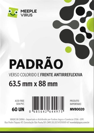 Sleeve Padrão Com Verso PRETO 63,5x88 mm - Blue Core