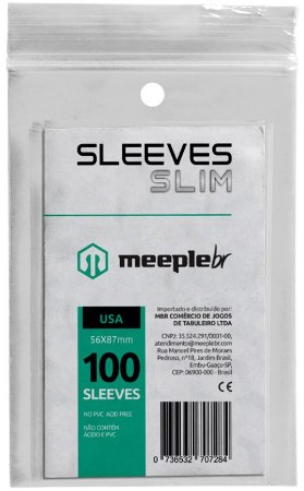 Sleeve Slim Padrão USA 56x87 mm - MeepleBR