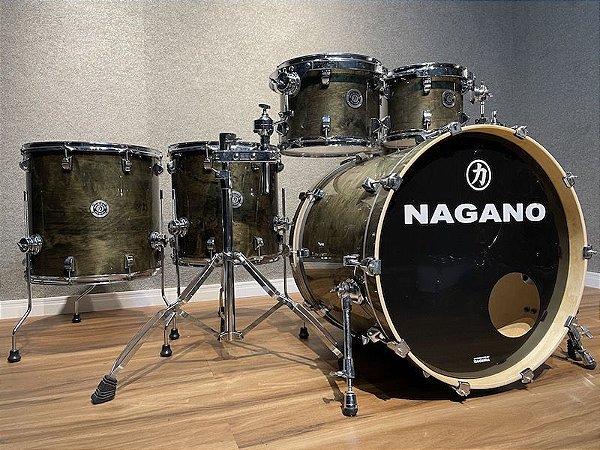 "Bateria Nagano Concert Full Lacquer Black Mist 22"" 10"" 12"" 14"" 16"" + cx 14x6,5"""