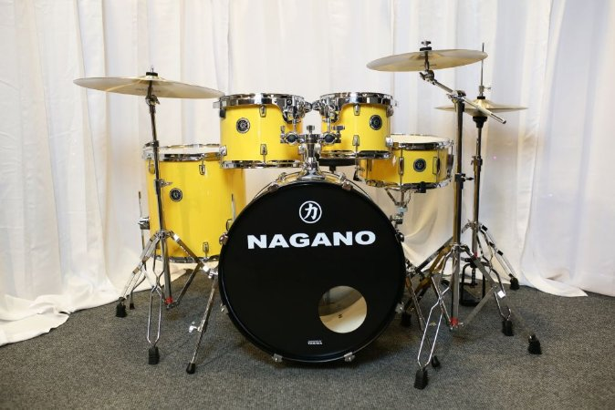 "Bateria Garage Rock Yellow Racing 22"" 10"" 12"" 16"" + Caixa 14x6,5"""