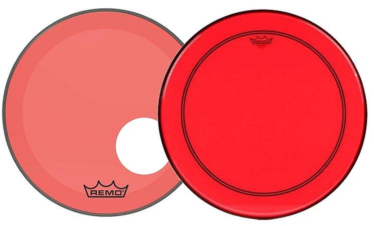 """Kit de Peles Remo Powerstroke 3 Colortone Batedeira + Resposta Vermelha p/ Bumbo 22"""""""