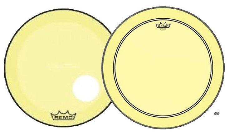 "Kit de Peles Remo Powerstroke 3 Colortone Batedeira + Resposta Amarela p/ Bumbo 22"""