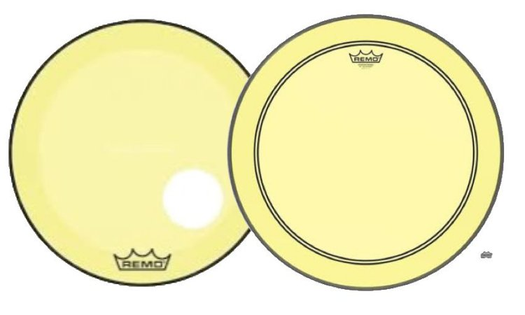 "Kit de Peles Remo Powerstroke 3 Colortone Batedeira + Resposta Amarela p/ Bumbo 20"""
