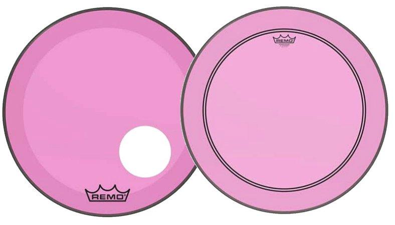 "Kit de Peles Remo Powerstroke 3 Colortone Batedeira + Resposta Rosa Pink p/ Bumbo 22"""