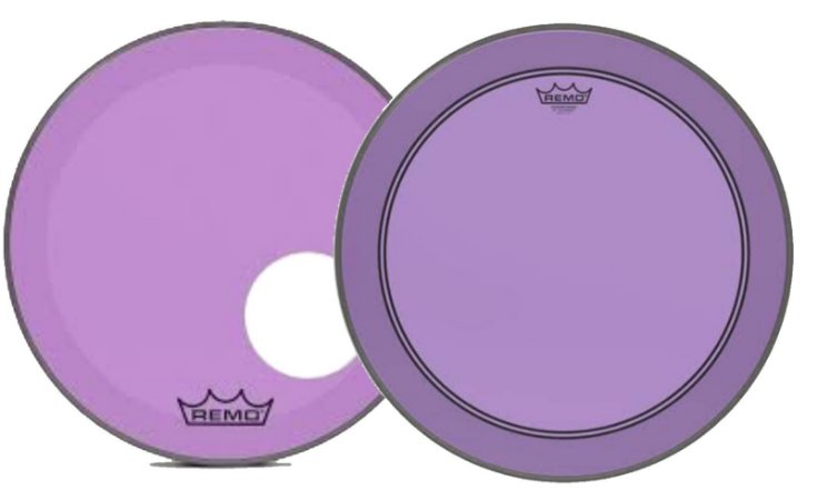 """Kit de Peles Remo Powerstroke 3 Colortone Batedeira + Resposta Roxa p/ Bumbo 20"""""""