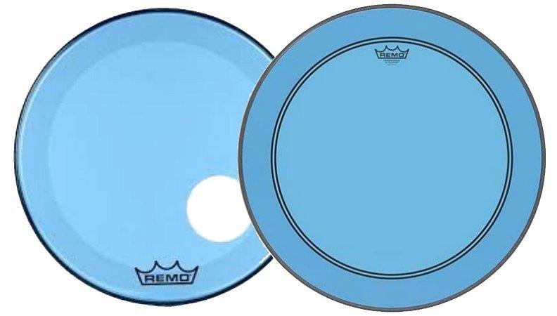 """Kit de Peles Remo Powerstroke 3 Colortone Batedeira + Resposta Azul p/ Bumbo 20"""""""