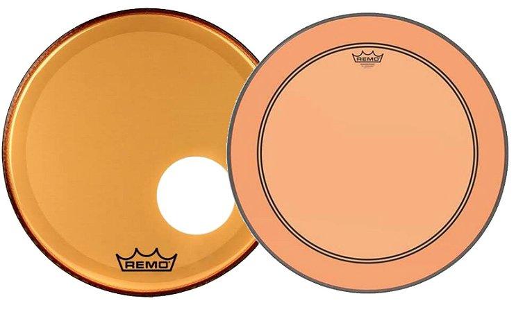 "Kit de Peles Remo Powerstroke 3 Colortone Batedeira + Resposta Laranja p/ Bumbo 18"""
