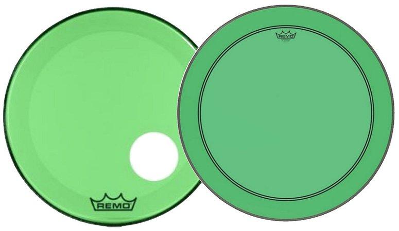 "Kit de Peles Remo Powerstroke 3 Colortone Batedeira + Resposta Verde p/ Bumbo 22"""