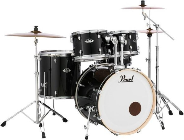 "Bateria Pearl Export EXX Jet Black 22"" 10"" 12"" 16"" + Caixa 14x5,5"" Shellpack"