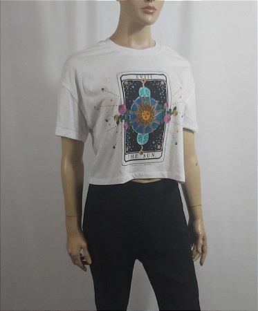 "Stradivarius - T-shirt cropped ""The Sun"""