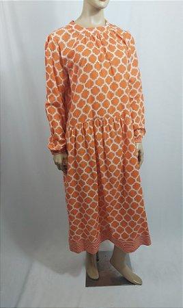 "Turquoise ""Handcrafted"" - Vestido estampa laranja"