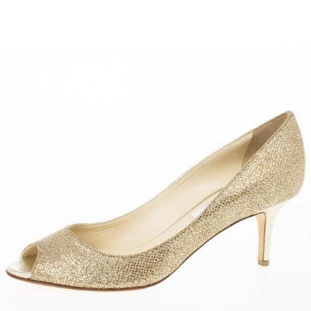 Jimmy Choo - Gold Glitter Leather 'Isabel' Peep Toe Pumps