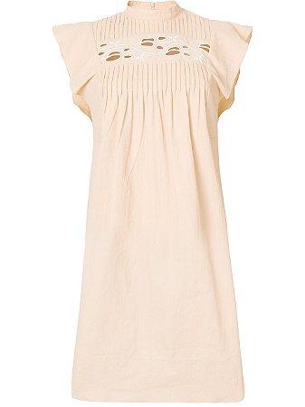 chloé - vestido com recortes vazados em linho