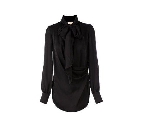 Emilio Pucci - Women's Black Draped Pussy Bow Blouse