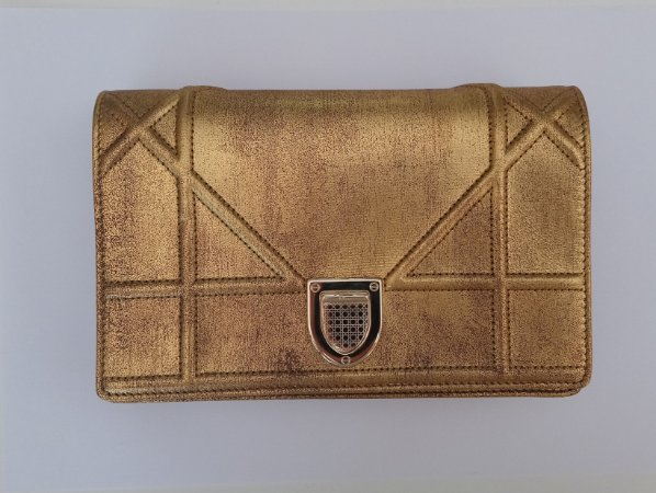CHRISTIAN DIOR-  Gold Leather Diorama On Chain Wallet