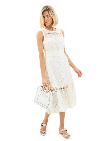 Le Lis Blanc - Vestido Alessa midi seda off white ( Alto Verão / 19)