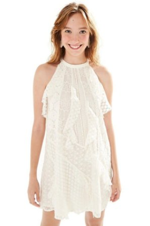Farm - Vestido off white rendas