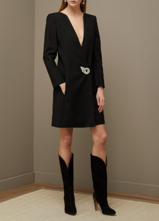 Givenchy - Women's Black Wrap Dress With Jewel Fastening