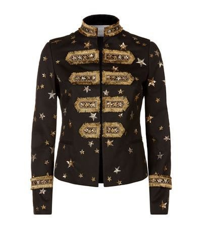 VALENTINO - Star-Embellished Military Jacket, Black